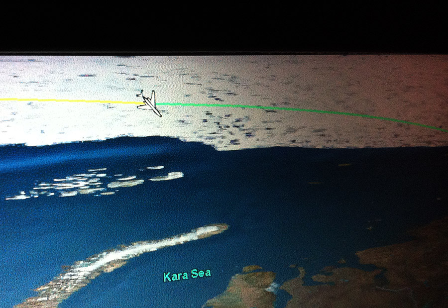 Flying sideways over the Kara Sea